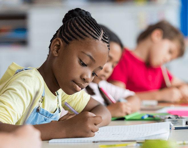 kids working in school